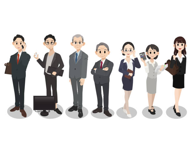ビジネスチームワークの概念。ビジネス人のグループ文字セット。 - ファイナンシャルアドバイザー点のイラスト素材/クリップアート素材/マンガ素材/アイコン素材