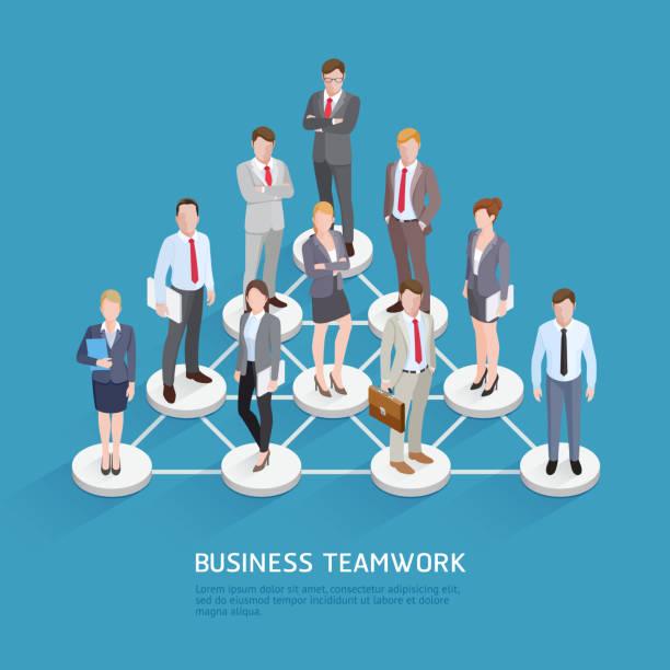 Teamarbeit Geschäftsideen. Isometrische Vektor-Illustration. – Vektorgrafik