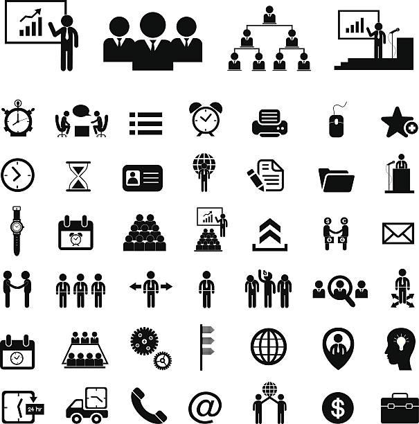 bildbanksillustrationer, clip art samt tecknat material och ikoner med business teamwork  icon set - par mänskliga relationer