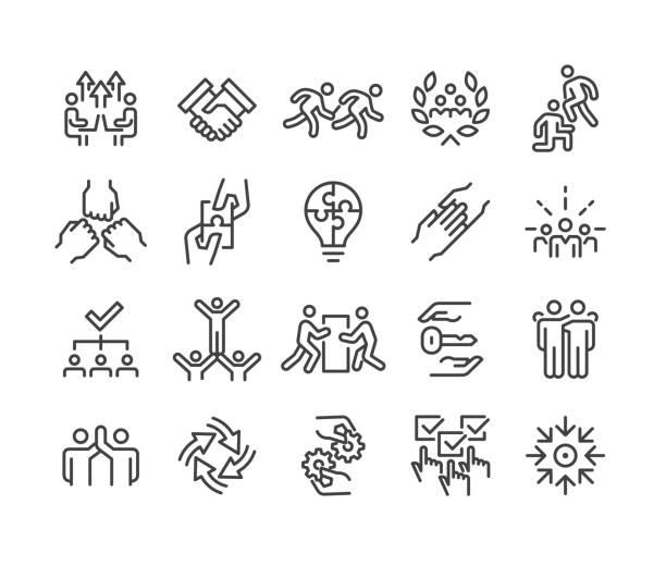 ilustrações de stock, clip art, desenhos animados e ícones de business teamwork icons - classic line series - future hug