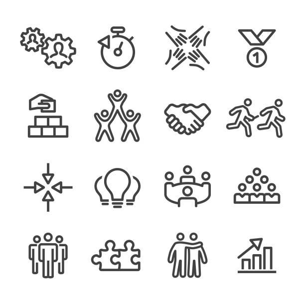 ilustrações de stock, clip art, desenhos animados e ícones de business teamwork icons - line series - future hug