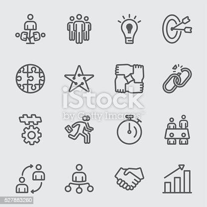 Business teamwork line icon