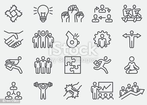 Business Teamwork Line Icons