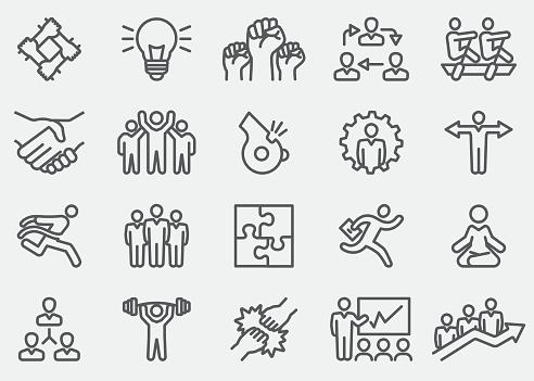 Business Teamwork Line Icons   EPS 10