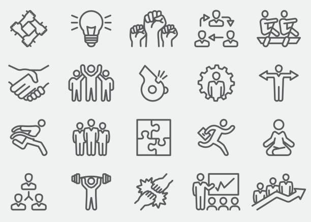 ilustraciones, imágenes clip art, dibujos animados e iconos de stock de iconos de línea de negocio trabajo en equipo | eps 10 - lucha