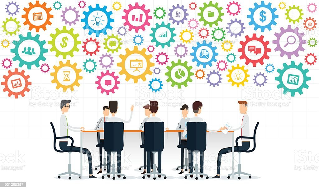business teamwork meeting on colorful gear process vector art illustration