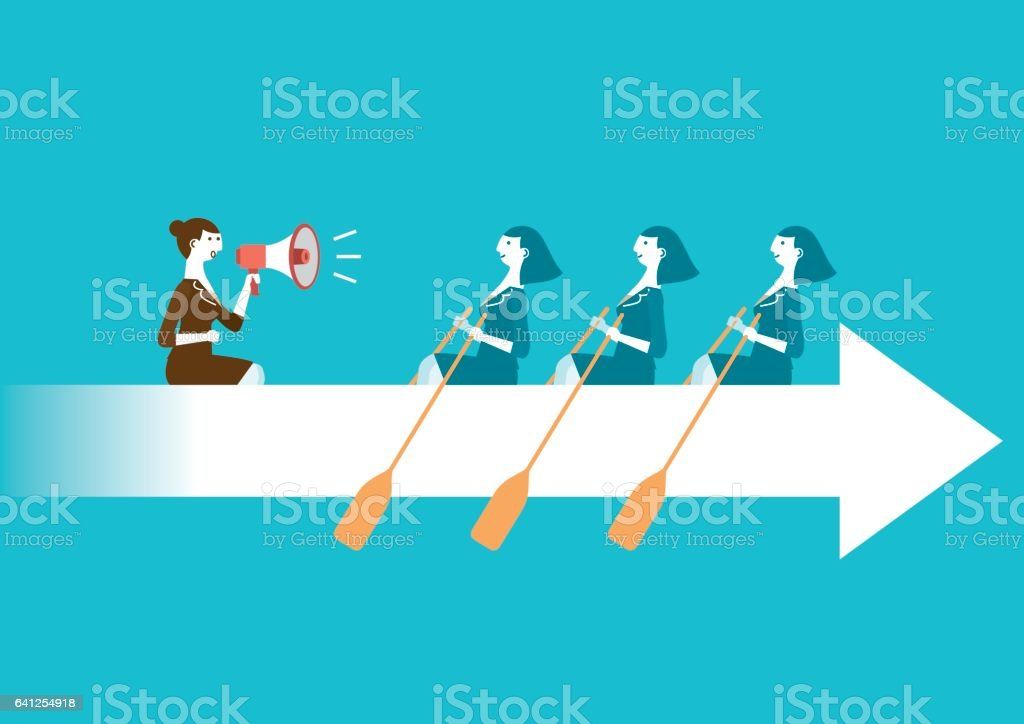 Business Teamwork on Rowing Arrow | New Business Concept vector art illustration