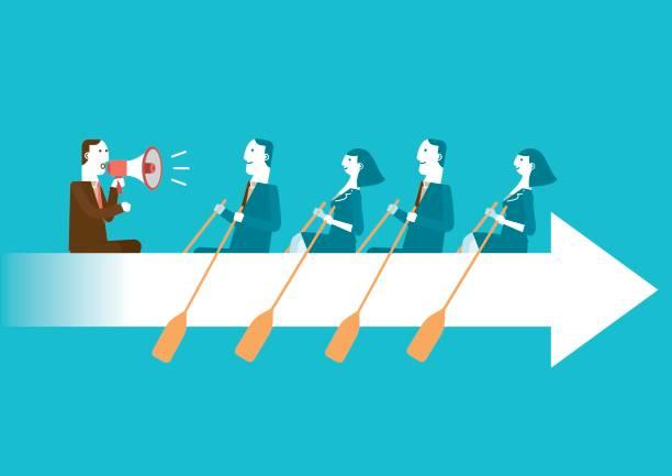 Unternehmen Teamwork auf Rudern Pfeil | Neue Business-Konzept – Vektorgrafik