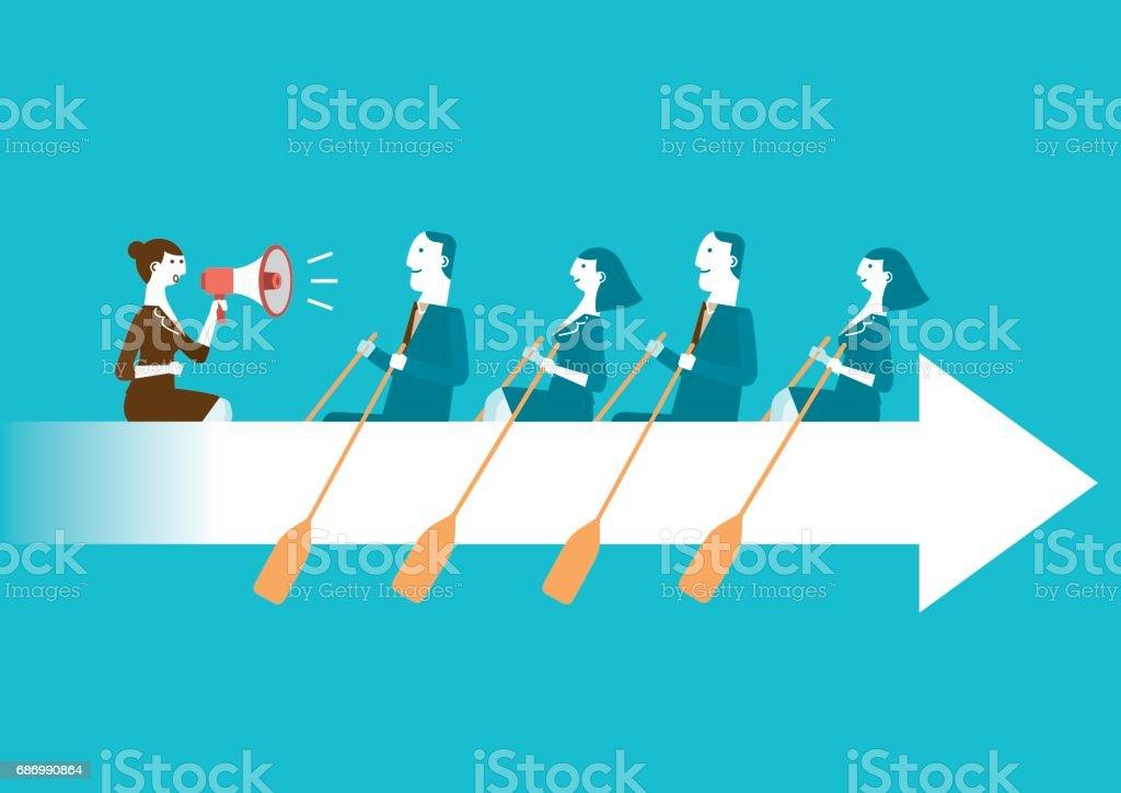 Business Teamwork on aviron flèche | Nouveau Concept d'affaires - Illustration vectorielle