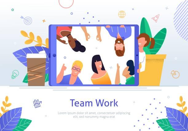 ilustrações de stock, clip art, desenhos animados e ícones de business teamwork online flat vector banner poster - teletrabalho