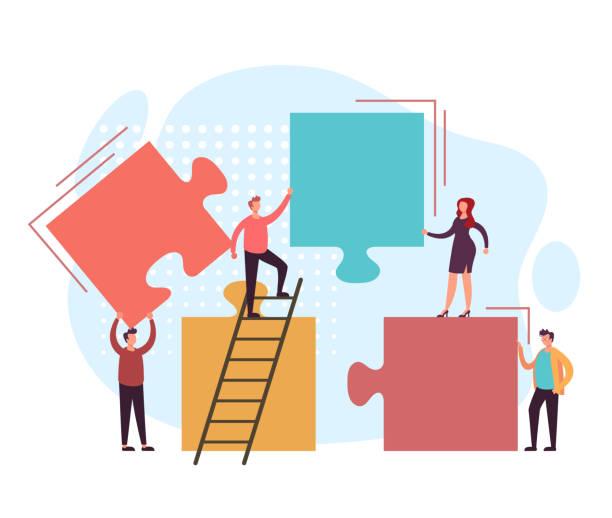 Business teamwork puzzle concept. Vector flat graphic design illustration vector art illustration