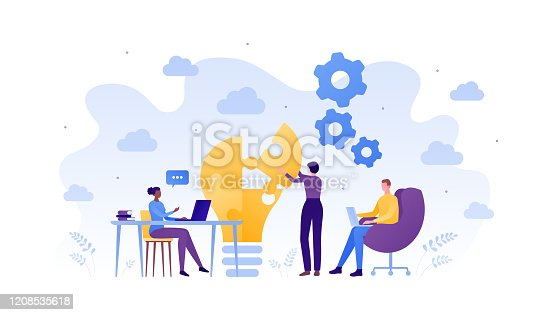 istock Business teamwork success concept. Vector flat people illustration. Male and female sitting with laptop and woman placing piece of puzzle. Design element for banner, poster, background. 1208535618