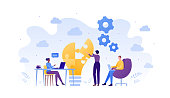 Business teamwork success concept. Vector flat people illustration. Male and female sitting with laptop and woman placing piece of puzzle. Design element for banner, poster, background.