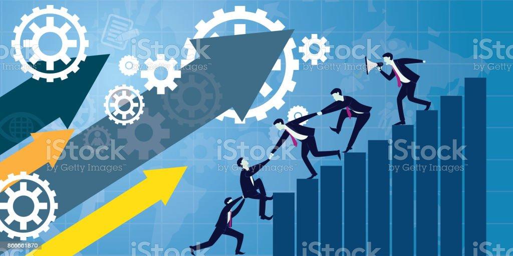 Business Teamwork Team Hard Work Concept. Vector Illustration vector art illustration