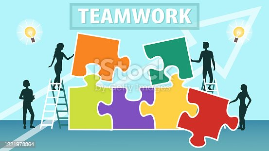 istock Business Teamwork Template Concept. Team is Connecting Puzzle Pieces. Creative Solutions, Collaboration and Partnership, Black Silhouettes Of People Working Together. Flat Style. Vector illustration 1221978864