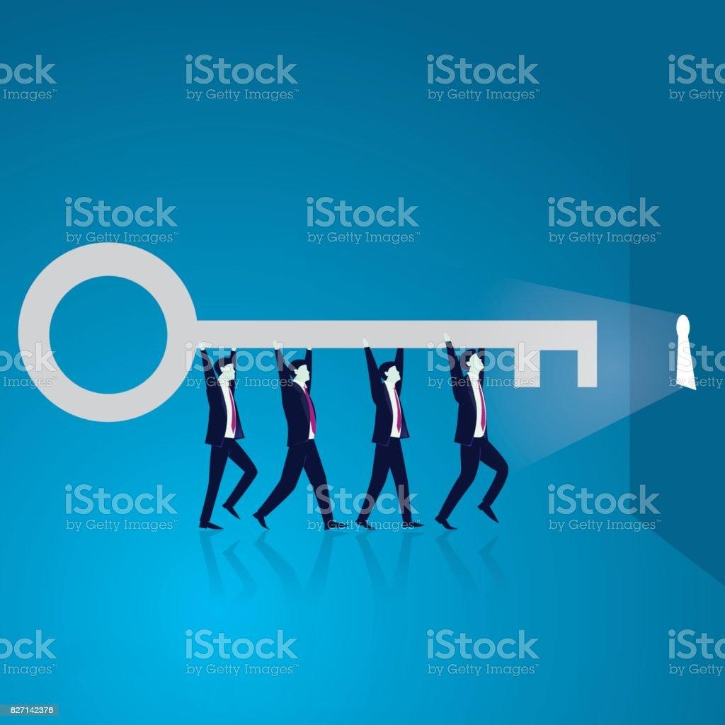 Business Teamwork to Reach Success Together vector art illustration