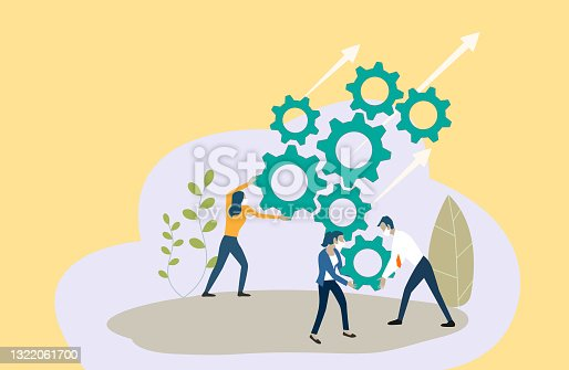 istock Business teamwork with mechanism system. 1322061700