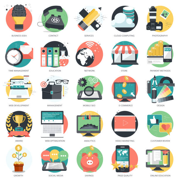 Business, technology and finances icon set for websites and mobile applications and services. Flat vector illustration Business, technology and finances icon set for websites and mobile applications and services. Flat vector illustration website design stock illustrations