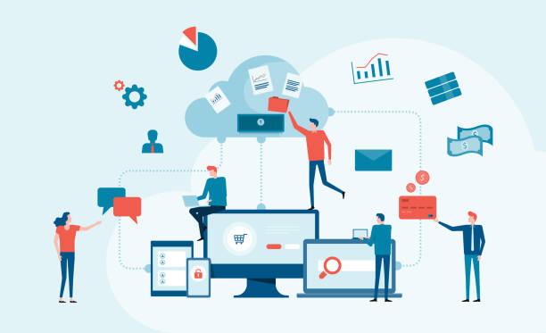 Business Technology Cloud Computing Service-Konzept und mit Entwicklerteam-Arbeitskonzept – Vektorgrafik