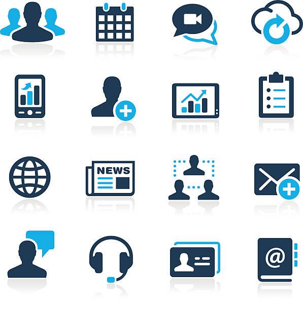 stockillustraties, clipart, cartoons en iconen met business technology icons - azure series - new world