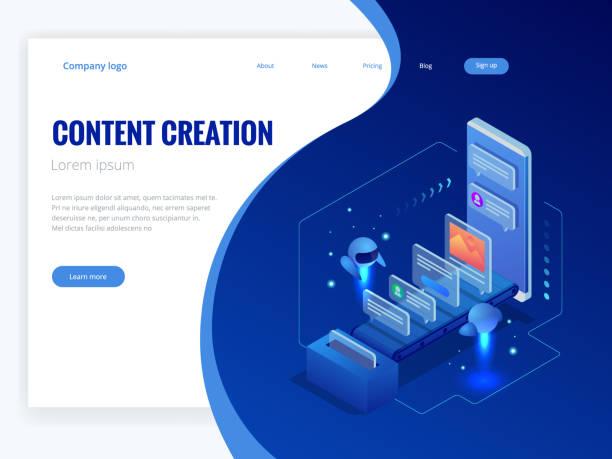 Concepto de negocio, tecnología, internet y redes. Estrategia, marketing de contenido, escritura, Ilustración de vector de distribución de contenido - ilustración de arte vectorial
