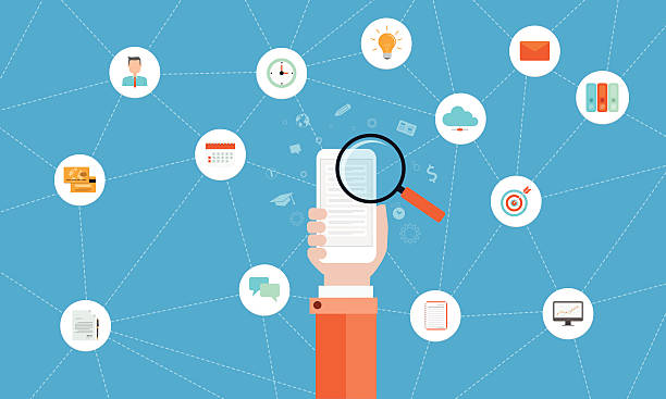 ilustrações, clipart, desenhos animados e ícones de negócios, conexão de rede conceito de internet de tecnologia - mobile