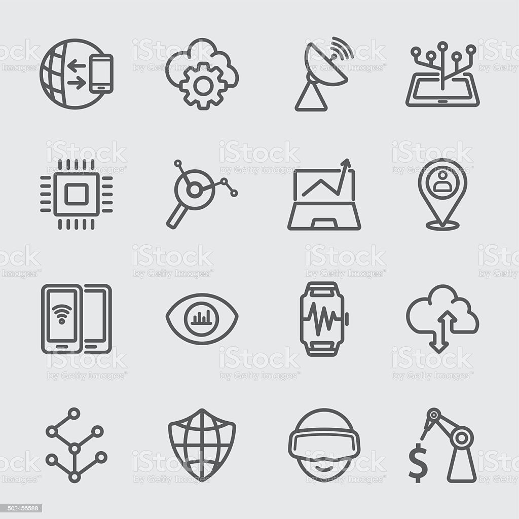 Business technology line icon vector art illustration