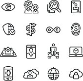 Business Technology Trends Icons - Line Series