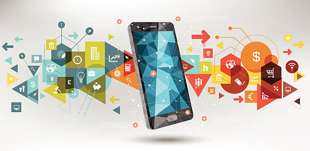 Business technology Business tech design on smartphone exchange rate stock illustrations