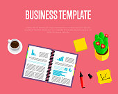 Business template. Top view office workspace, vector illustration. Business workplace with cactus, pen, financial documents and cup of coffee on red background. Modern workplace.