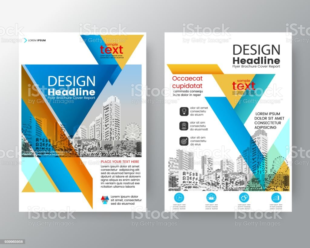Business Templates Creative Design Abstract Blue Yellow Diagonal ...