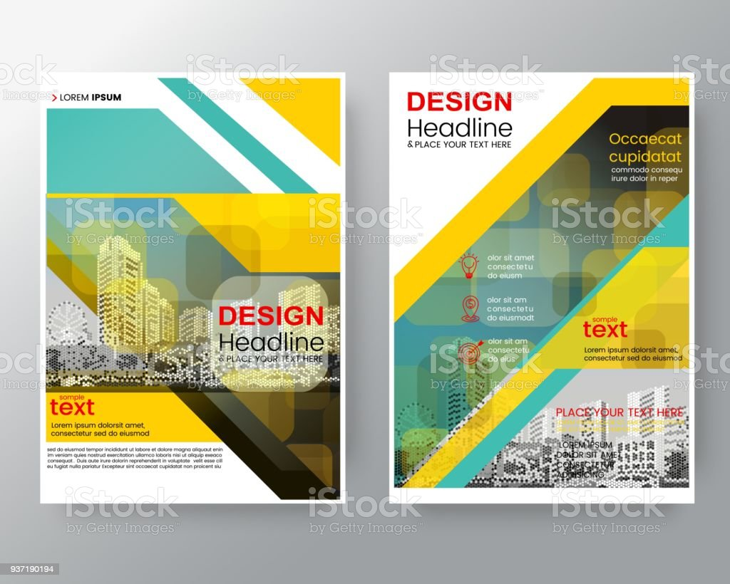 business templates creative design abstract green diagonal brochure annual report cover flyer poster design layout