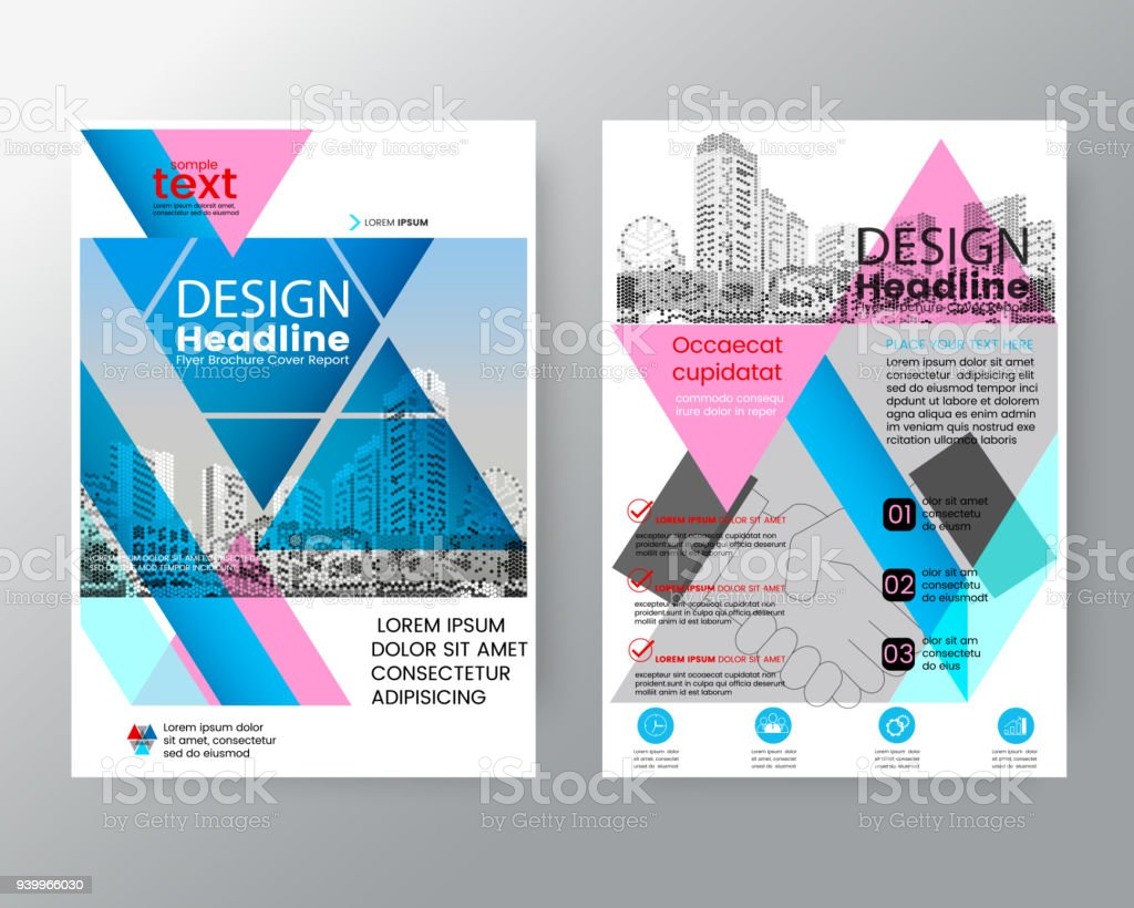 business templates creative design abstract pink and blue triangle brochure annual report cover flyer poster