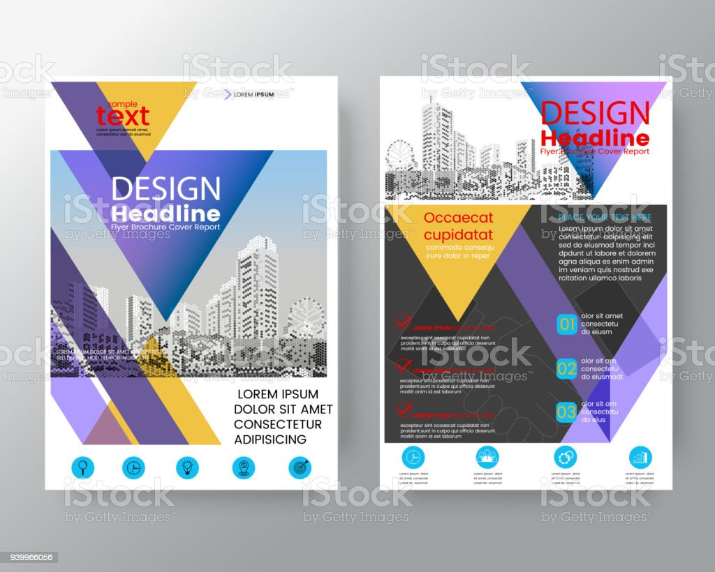 business templates creative design abstract purple and yellow triangle brochure annual report cover flyer poster