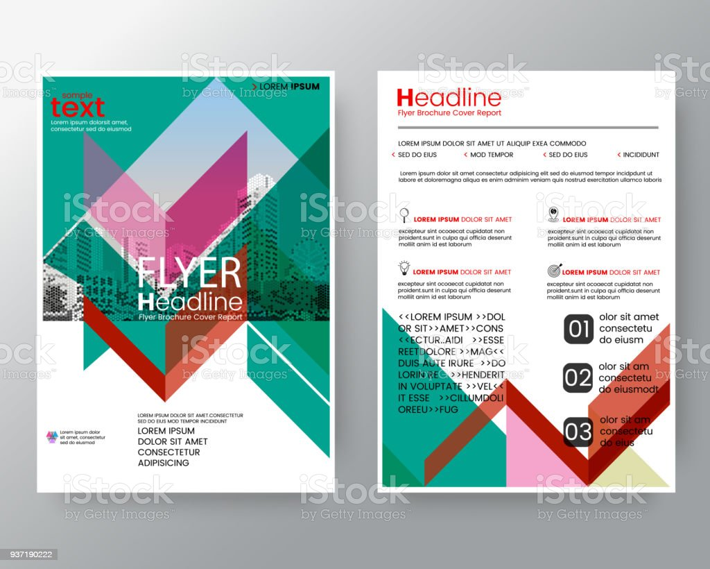 business templates creative design abstract red and green diagonal line brochure annual report cover flyer