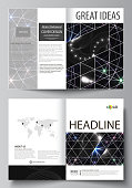 Business templates for bi fold brochure, magazine, flyer, booklet, report. Cover design template, vector abstract layout in A4 size. Sacred geometry, glowing geometrical ornament. Mystical background