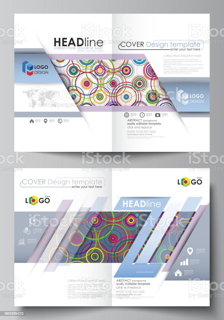 Business templates for bi fold brochure, magazine, flyer, report. Cover design template, abstract vector layout in A4 size. Bright color background in minimalist style made from colorful circles - Grafika wektorowa royalty-free (Abstrakcja)