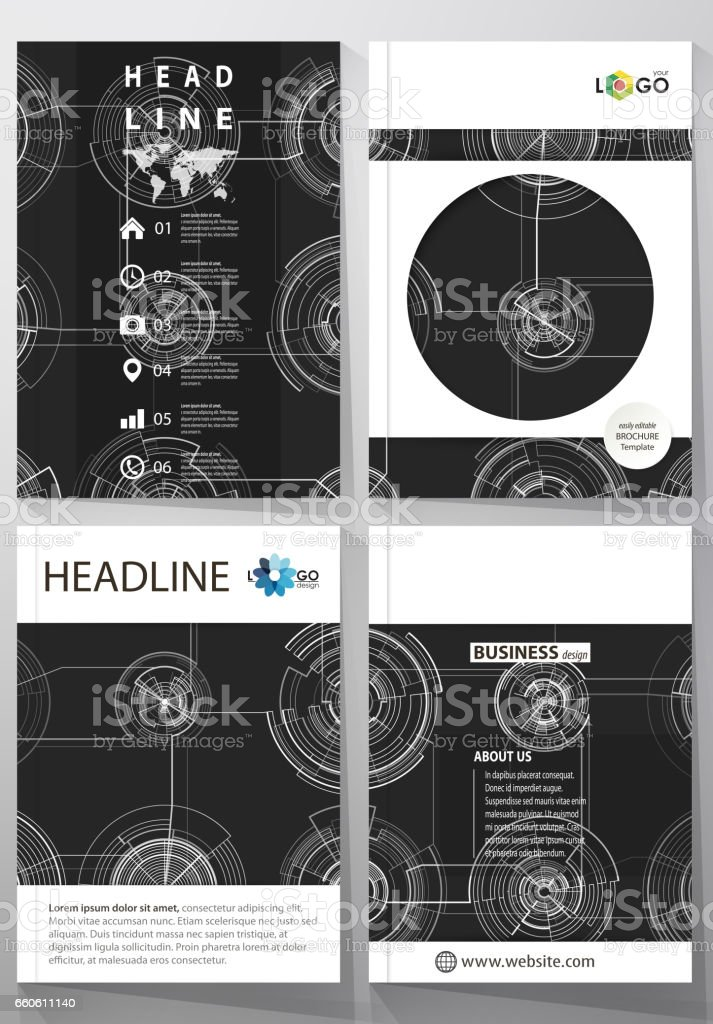 Business templates for brochure, magazine, flyer, annual report. Cover template, layout in A4 size. High tech design, connecting system. Science and technology concept. Futuristic vector background royalty-free business templates for brochure magazine flyer annual report cover template layout in a4 size high tech design connecting system science and technology concept futuristic vector background stock vector art & more images of advertisement