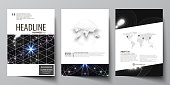Business templates for brochure, magazine, flyer, booklet or annual report. Cover design template, easy editable vector, abstract flat layout in A4 size. Sacred geometry, glowing geometrical ornament. Mystical background.