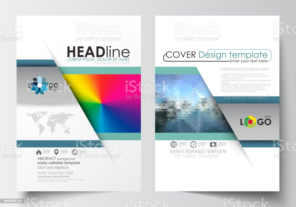 Business templates for brochure, magazine, flyer, booklet or annual report. Cover design, flat layout in A4 format. Abstract triangles, blue triangular background, modern colorful polygonal vector royalty-free business templates for brochure magazine flyer booklet or annual report cover design flat layout in a4 format abstract triangles blue triangular background modern colorful polygonal vector stock vector art & more images of advertisement