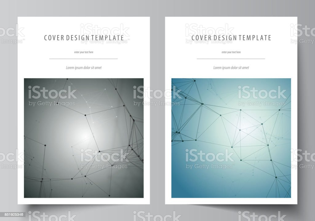 Business templates for brochure, magazine, flyer, booklet, report. Cover design template, vector layout in A4 size. Geometric background. Molecular structure. Scientific, medical, technology concept vector art illustration