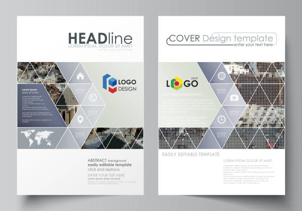 business templates for brochure, magazine, flyer, report. cover design template, abstract vector layout in a4 size. colorful background made of dotted texture for travel business, urban cityscape - business travel stock illustrations, clip art, cartoons, & icons