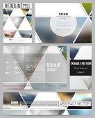 Set of business templates for presentation, brochure, flyer or booklet. Abstract multicolored background of blurred nature landscapes, geometric vector, triangular style illustration.