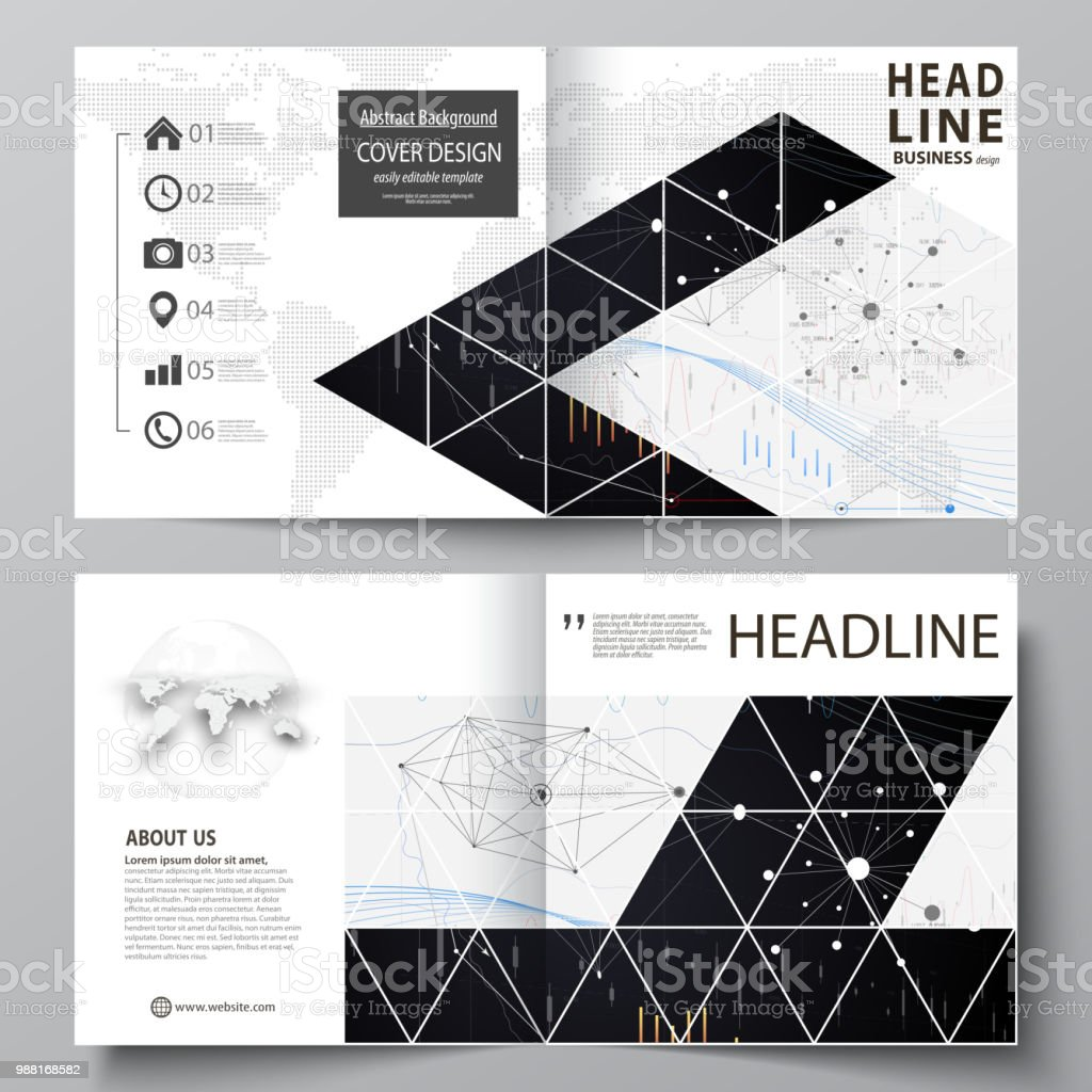 Business templates for square design bi fold brochure, flyer, annual report. Leaflet cover, vector layout. Abstract infographic background made from lines, symbols, charts, other elements - illustrazione arte vettoriale