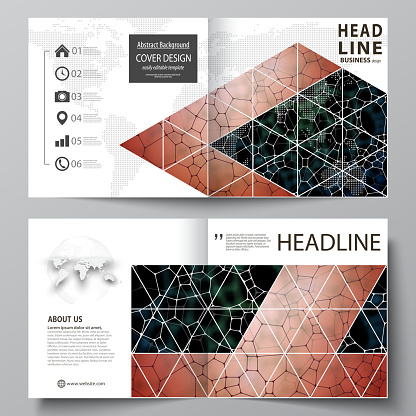 Business templates for square design bi fold brochure, flyer. Leaflet cover, vector layout. Chemistry pattern, molecular texture, polygonal molecule structure, cell. Medicine, microbiology concept