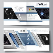 Business templates for square design bi fold brochure, magazine, flyer, booklet or annual report. Leaflet cover, abstract flat layout, easy editable vector. Sacred geometry, glowing geometrical ornament. Mystical background.