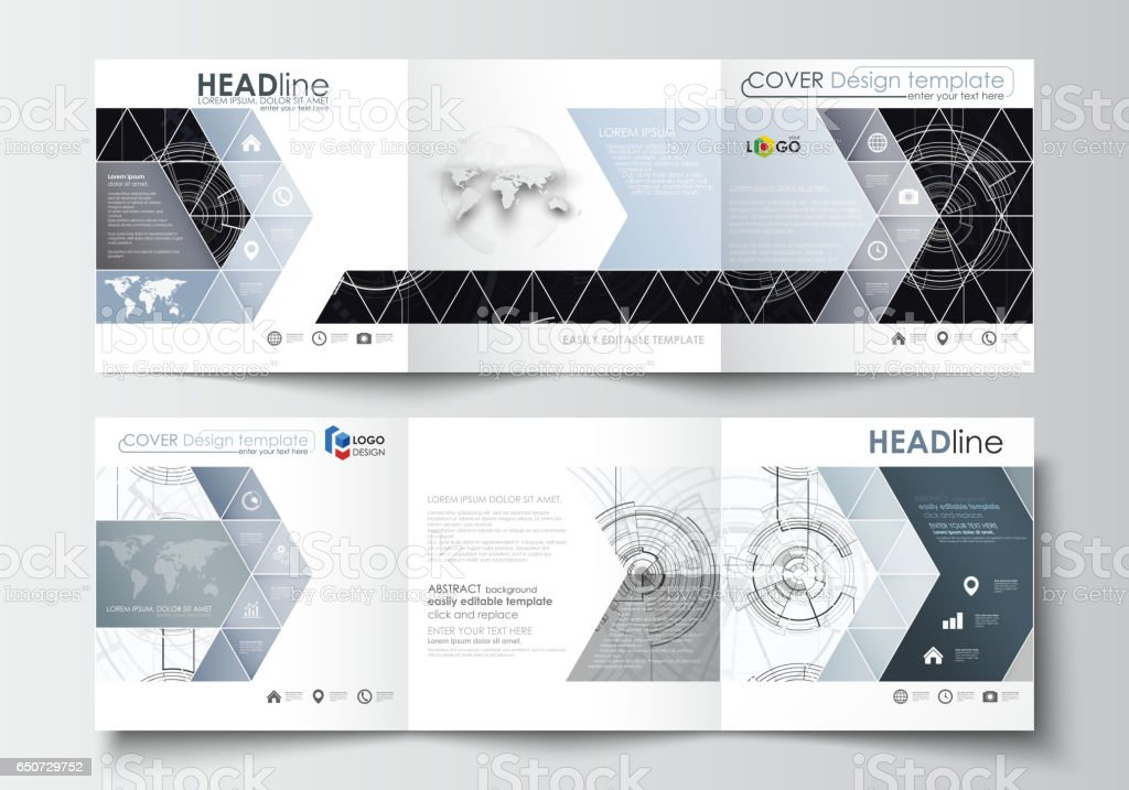 business templates for square tri fold brochures leaflet cover flat
