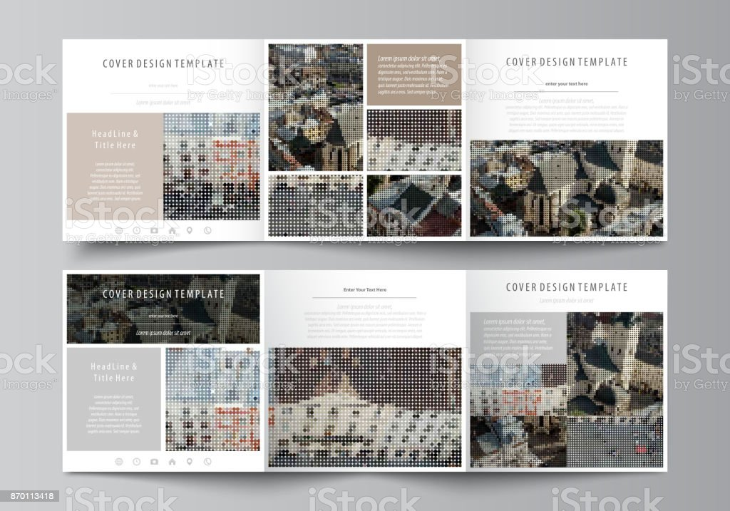 Business templates for tri fold square design brochures. Leaflet cover, abstract flat layout, easy editable vector. Colorful background made of dotted texture for travel business, urban cityscape vector art illustration