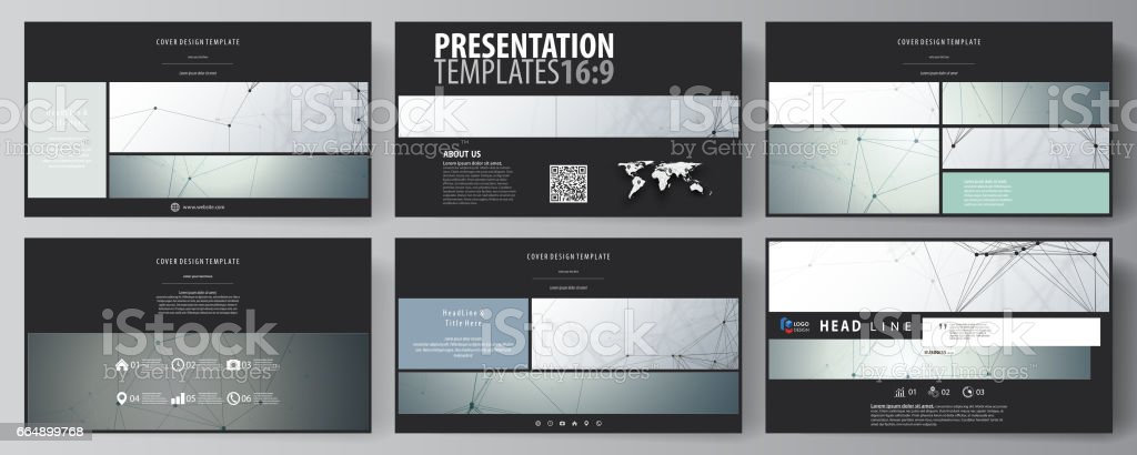 Business templates in HD format for presentation slides. Abstract vector layouts in flat design. Genetic and chemical compounds. DNA and neurons. Medicine, chemistry, science or technology concept business templates in hd format for presentation slides abstract vector layouts in flat design genetic and chemical compounds dna and neurons medicine chemistry science or technology concept - immagini vettoriali stock e altre immagini di affari finanza e industria royalty-free