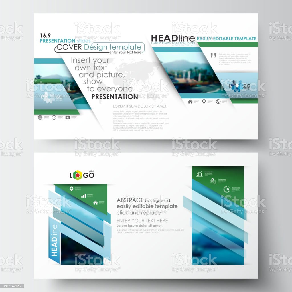 business templates in hd format for presentation slides flat design